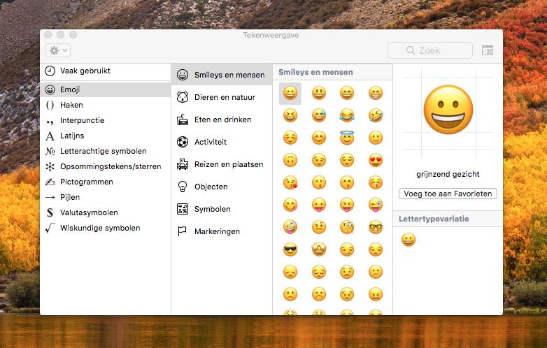 Emoji kiezen macOS