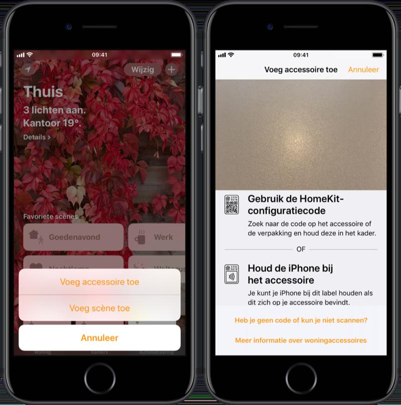 Accessoires toevoegen aan HomeKit in Woning-app.