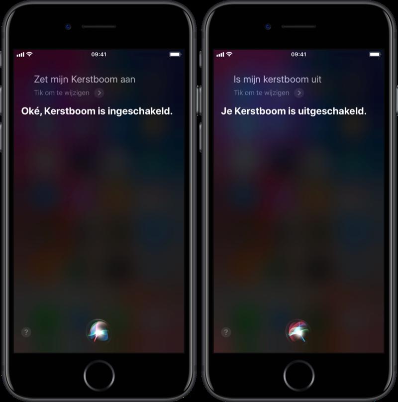 Kerstboom bedienen met Siri.