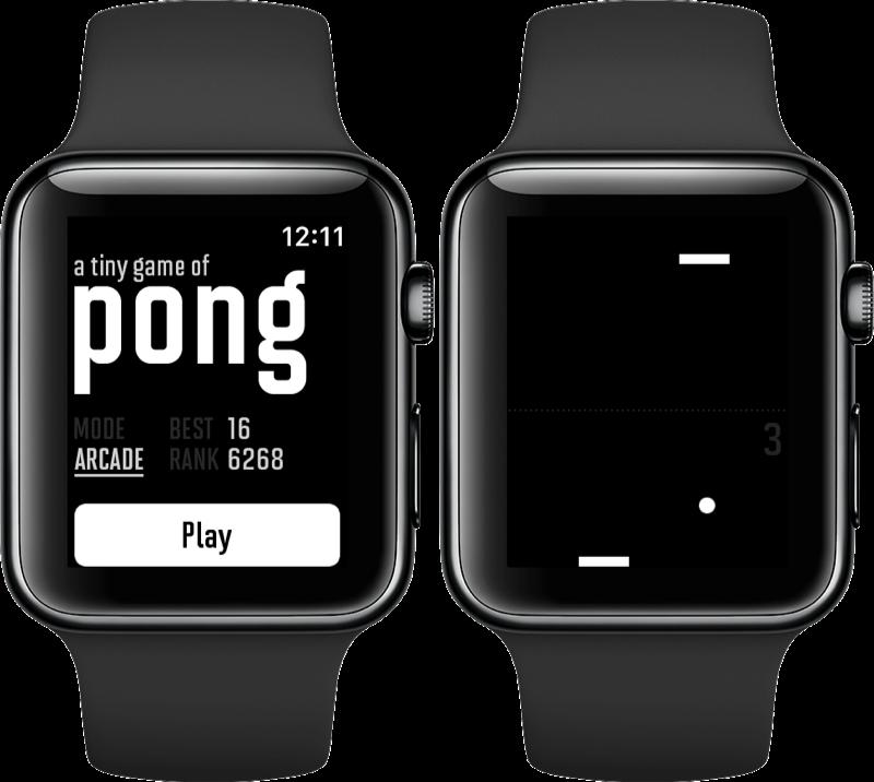 A Tiny Game of Pong op de Apple Watch.
