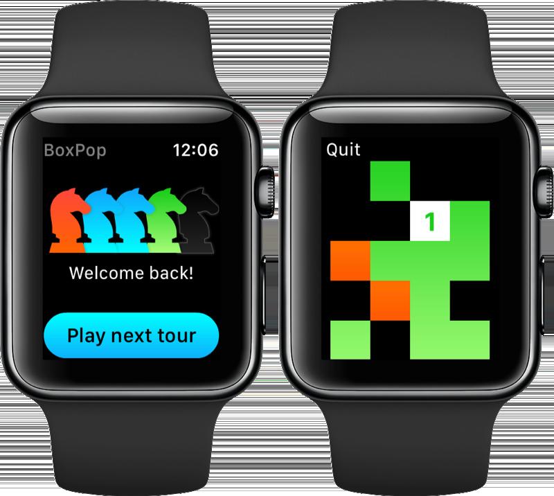 BoxPop op de Apple Watch.