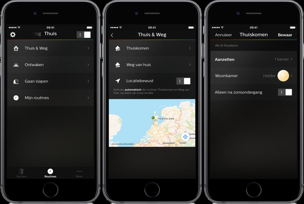 Hue-app met locatiebepaling voor lampen.