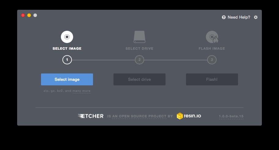 Etcher voor Raspberry Pi Pixel-desktop