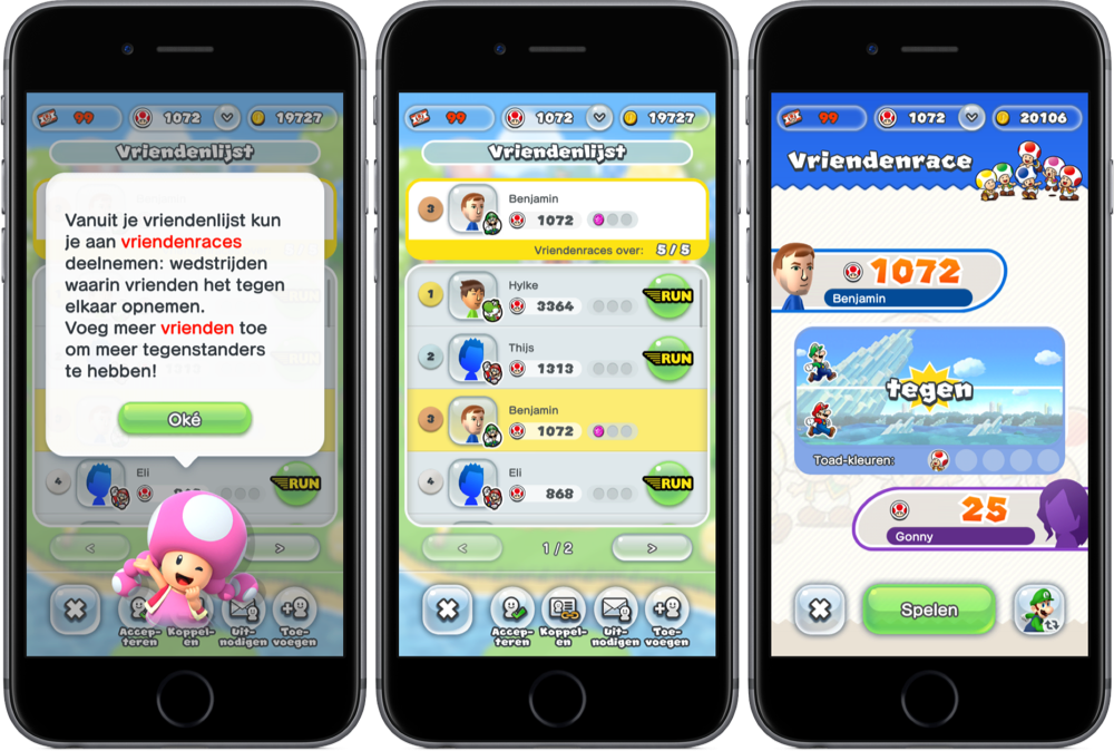 Vriendenraces in Super Mario Run.