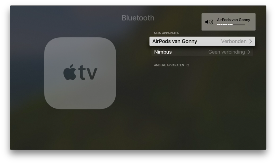 AirPods op je Apple TV.