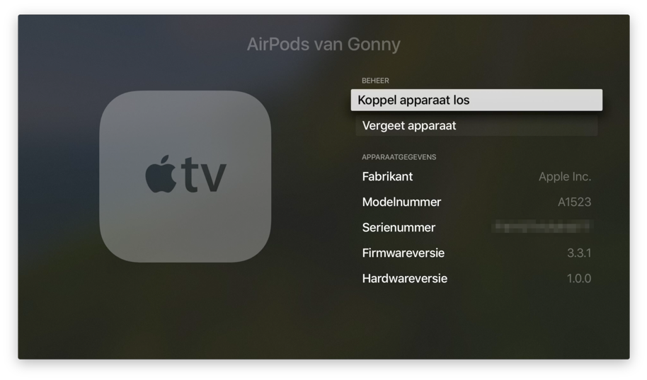 AirPods loskoppelen van een Apple TV.