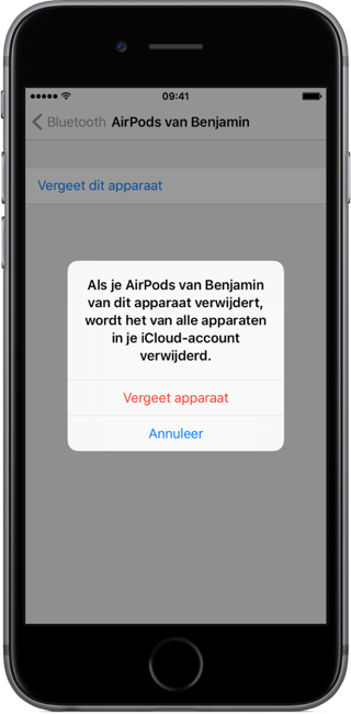 AirPods loskoppelen van je iPhone.