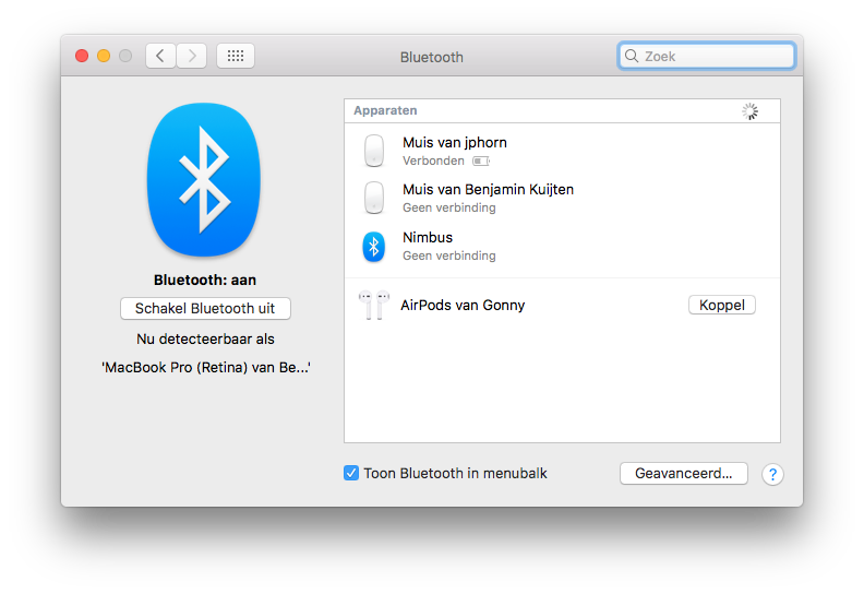 AirPods koppelen aan een extra Mac.