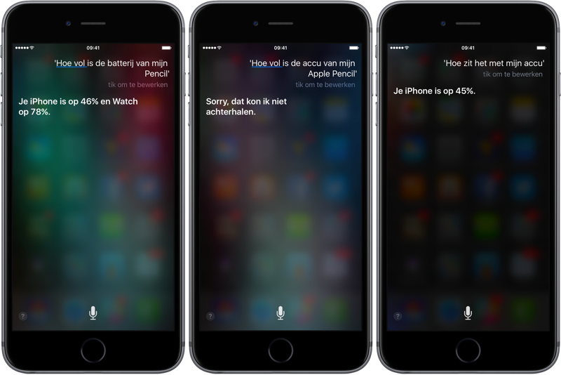 Siri batterijstatus opvragen