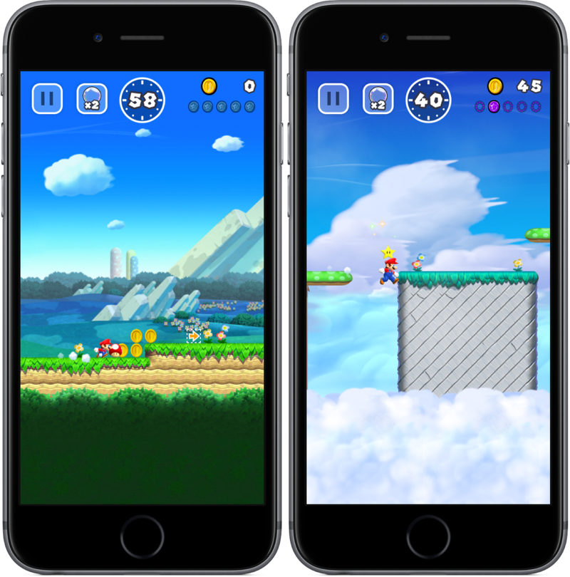 Powerups in Super Mario Run.