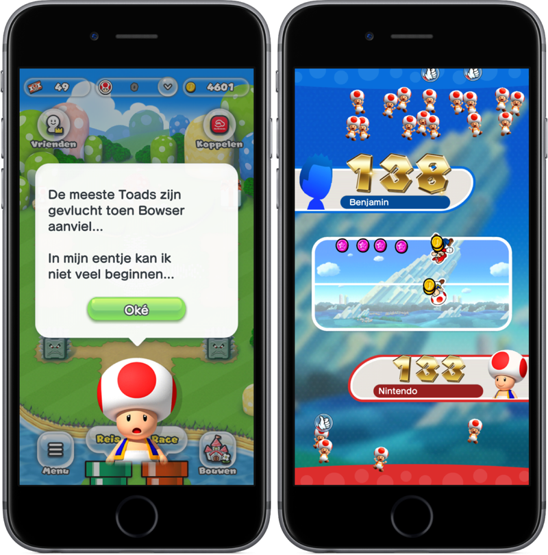 Super Mario Run met resultaten van Toad-race.