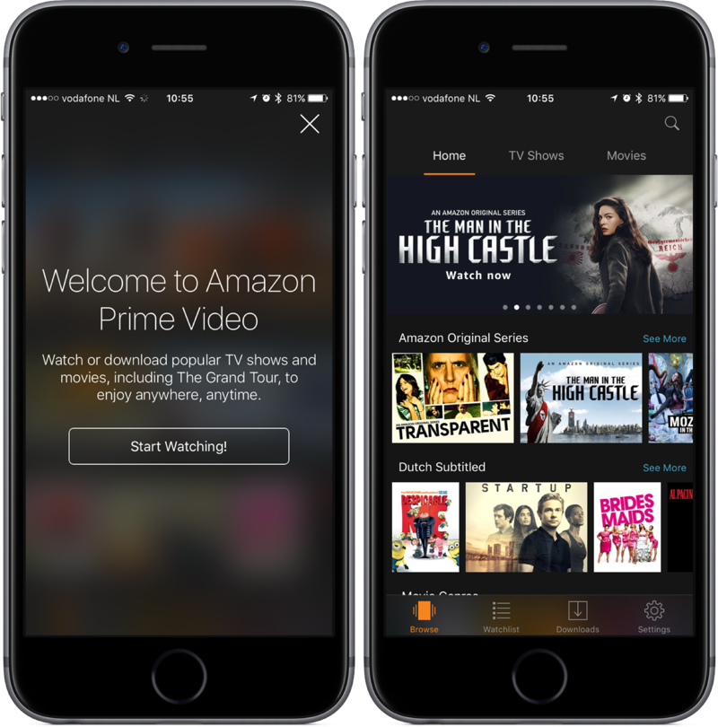 Amazon Prime Video startscherm en aanbod.