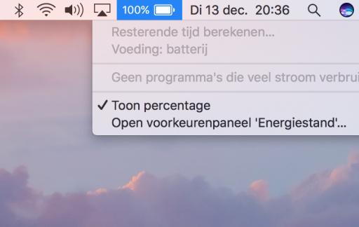 Tijd berekenen voor een MacBook-batterij.