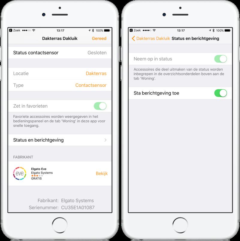 HomeKit kan melding sturen bij sensoren in de Home-app.