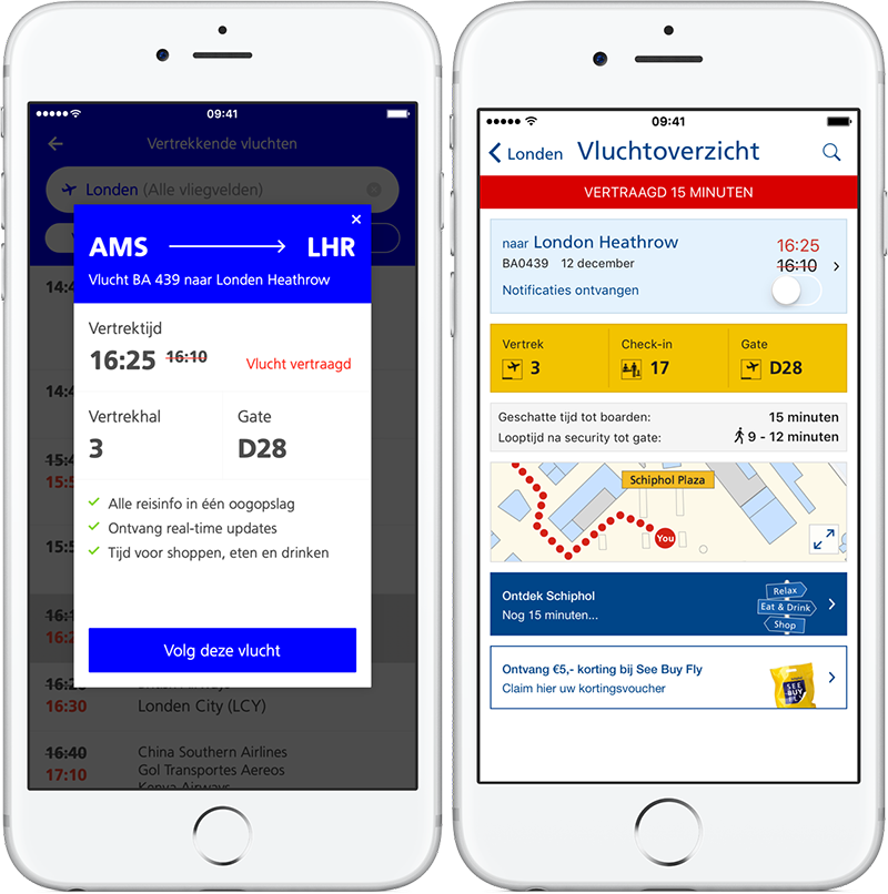 Schiphol-app: vluchtdetails
