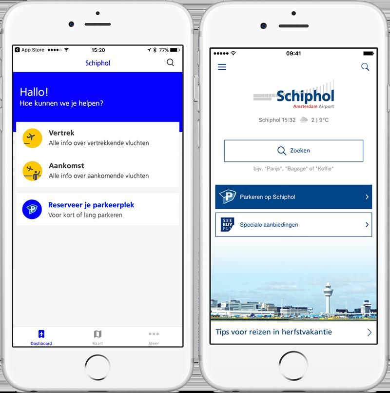 Schiphol-app: links de nieuwe versie, rechts de oude