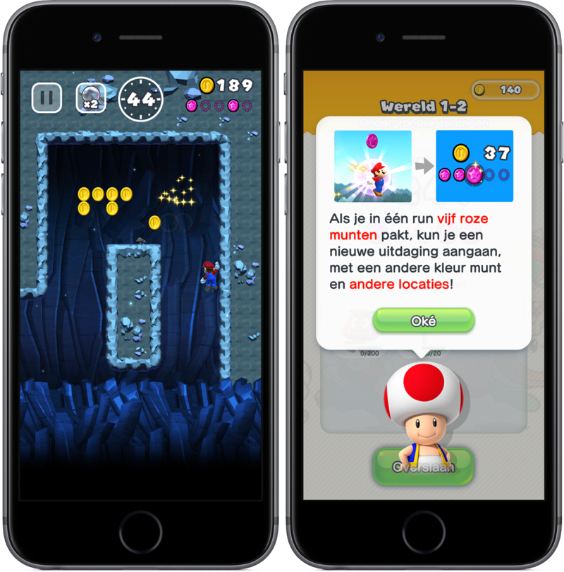 Muursprong in Super Mario Run.