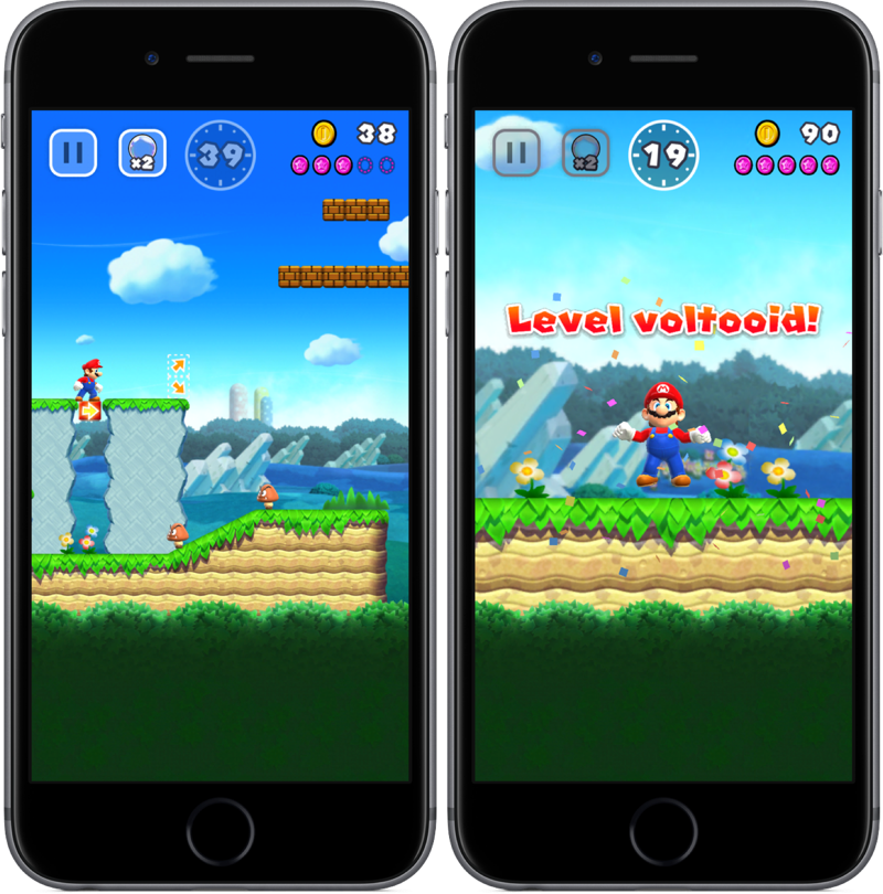Level voltooid in Super Mario Run.