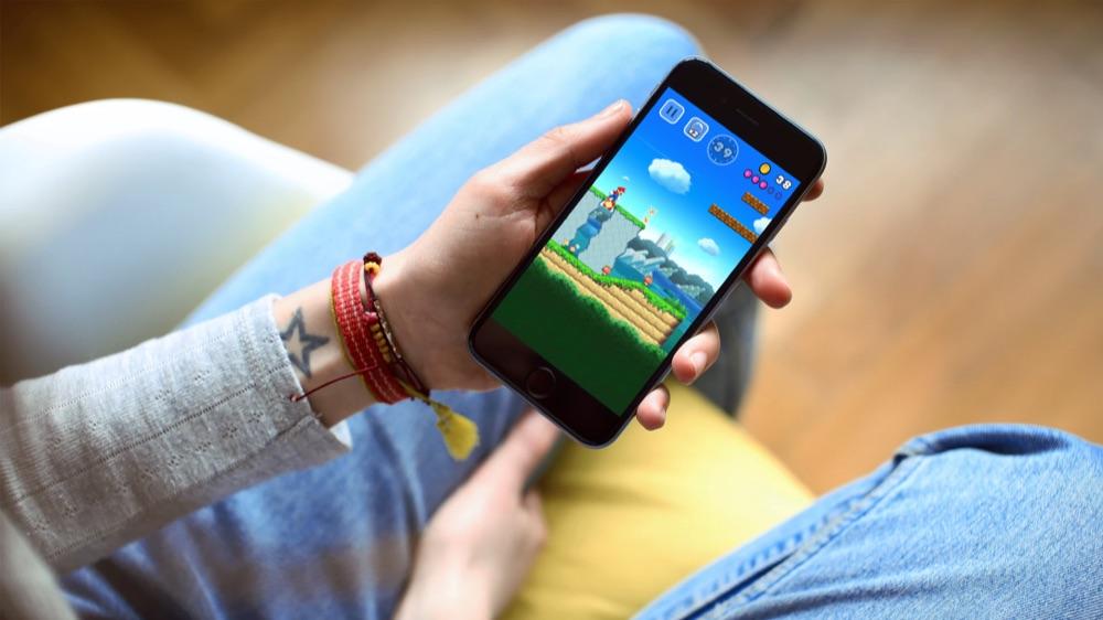 Super Mario Run op de iPhone.