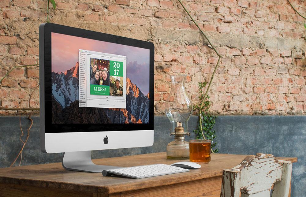 Wenskaarten maken en afdrukken met Foto's voor Mac