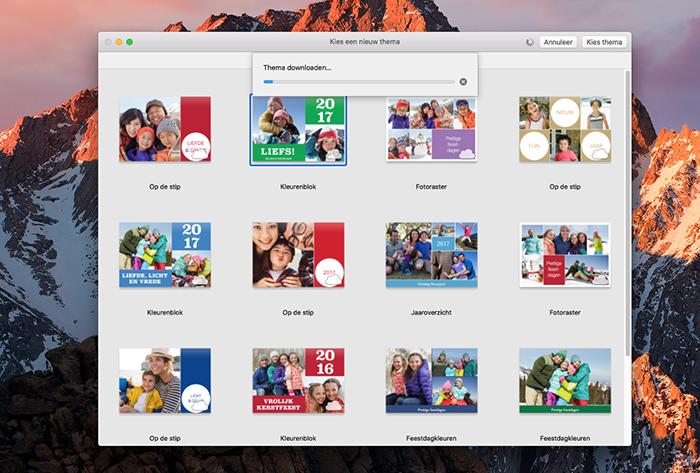 Thema's toevoegen bij wenskaarten maken op de Mac
