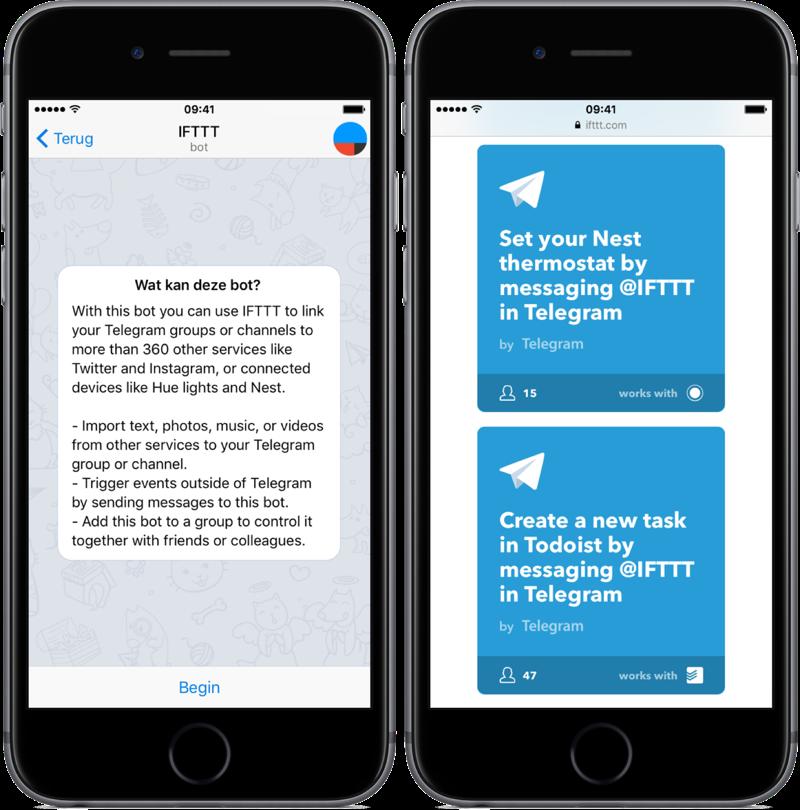 Telegram met IFTTT-bot.