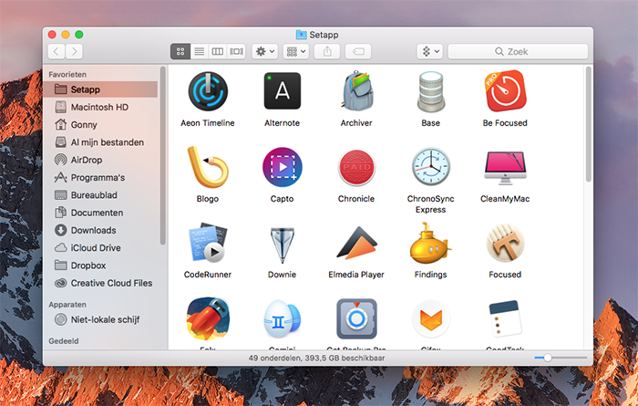 Setapp-venster met apps