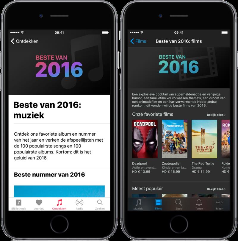 Beste Muziek en Beste Films van 2016 volgens Apple.