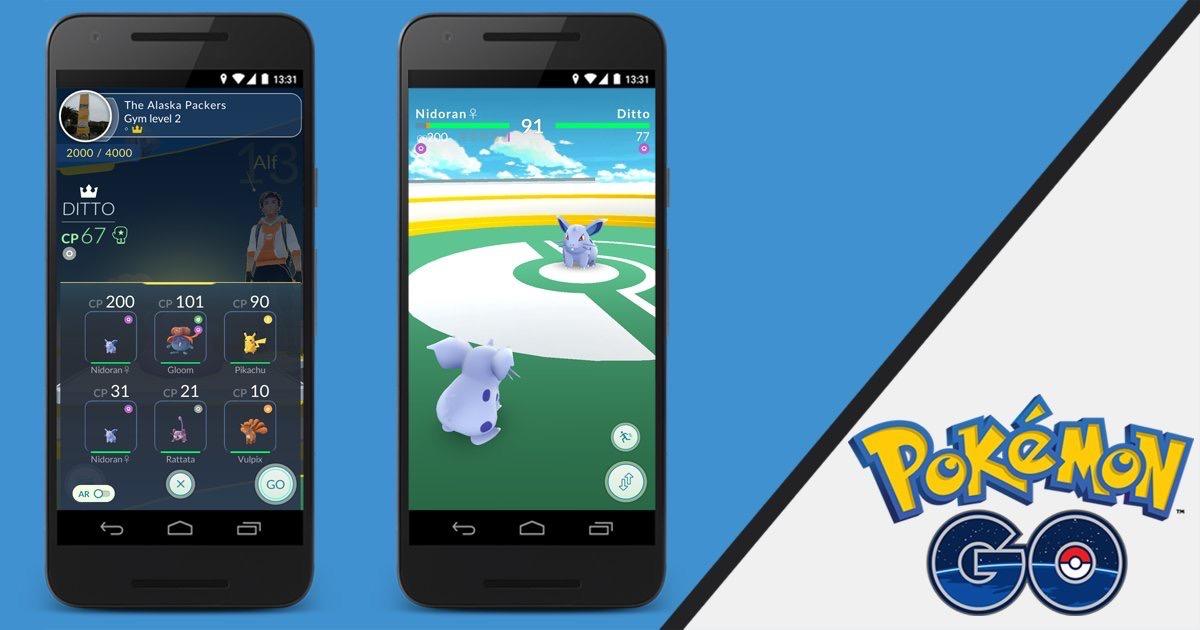 Type bekijken voor en tijdens een Gym-gevecht in Pokémon Go.