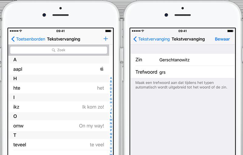 Tekstvervanging: typen met trefwoorden op iPhone en iPad