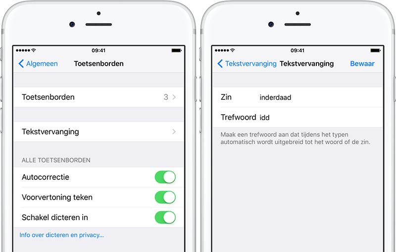 Tekstvervanging in iOS