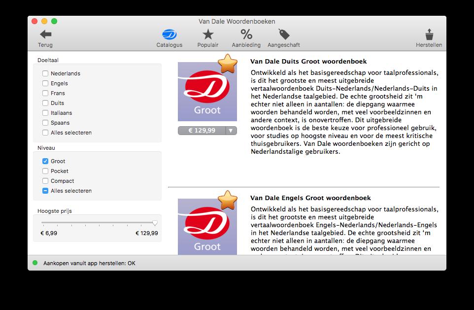 Prijzen van Groot woordenboeken in Van Dale op de Mac.