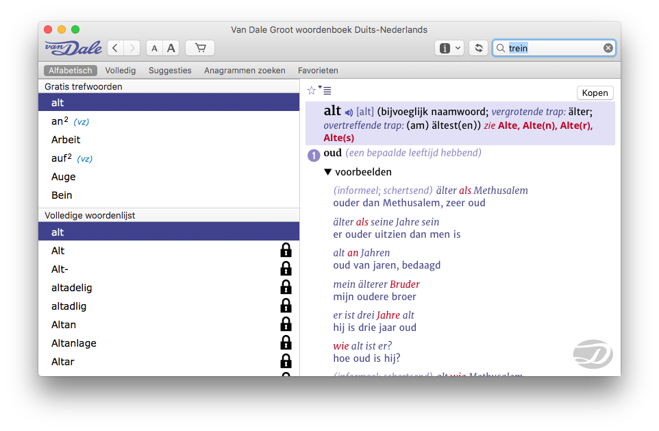 Van Dale op de Mac met Duits groot woordenboek.