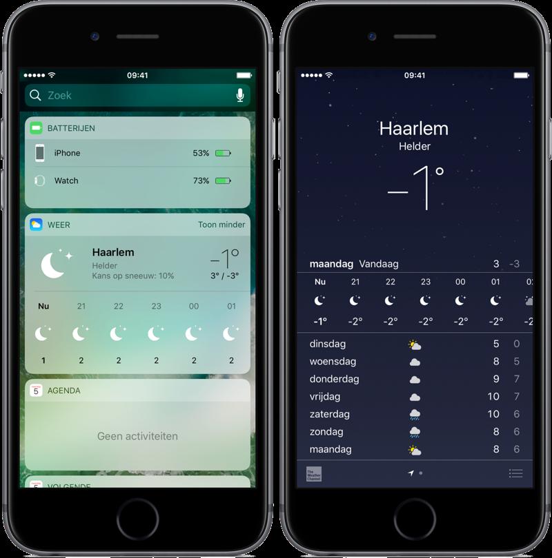 Widget van Weer-app in iOS 10 weet niet wat vriezen is.