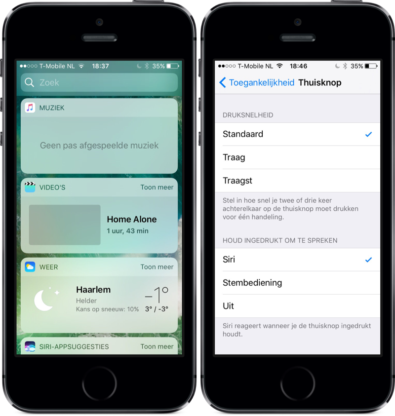 Video's-widget en instelling voor homeknop in iOS 10.2.