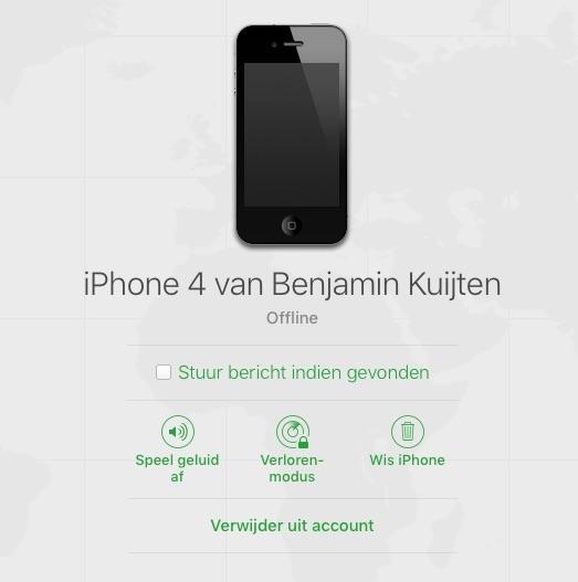 Verwijder uit account bij iCloud.