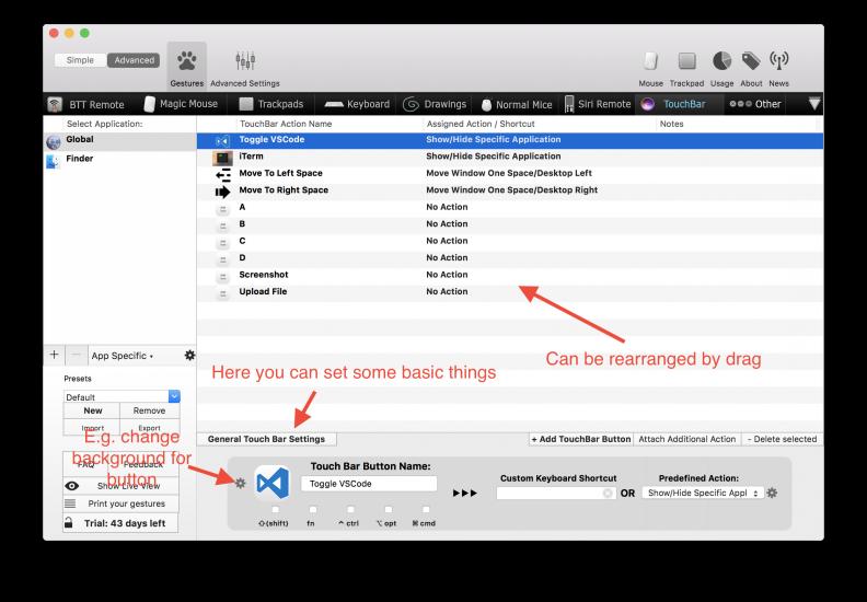 BetterTouchTool voor Mac met Touch Bar-ondersteuning