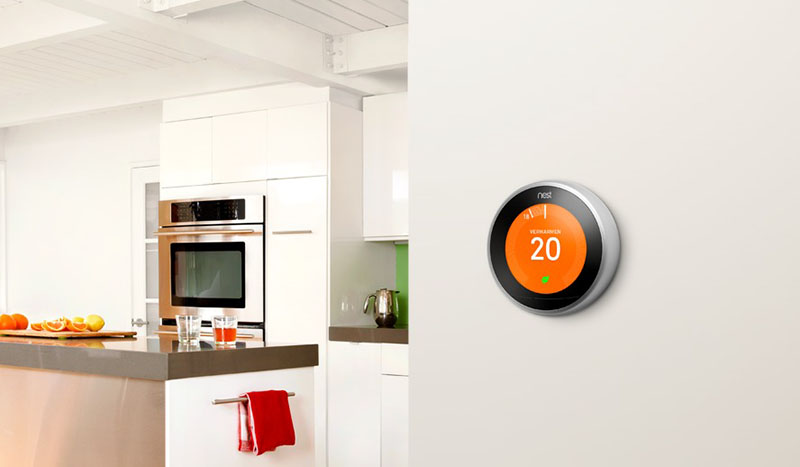 Nest thermostat in de keuken