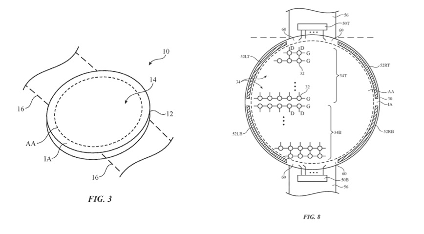 Apple Watch patent met rond scherm.