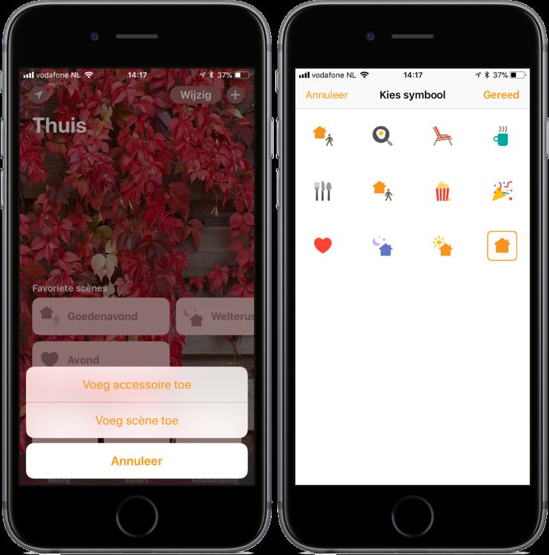 Accessoire en scène met symbool toevoeging in Woning op iOS.