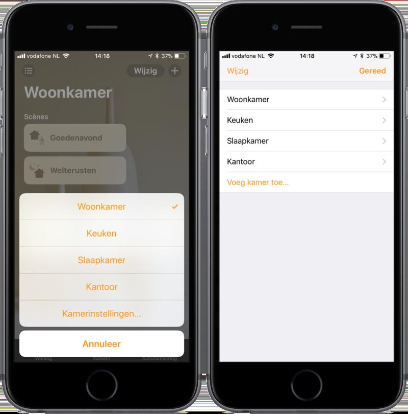 Kamers in de Woning-app op iOS.