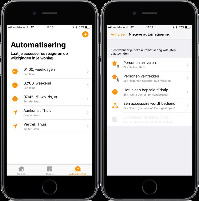 Automatisering in de Woning-app op iOS.