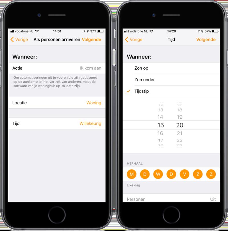 Automatisering met tijd en locatie in de Woning-app op iOS.
