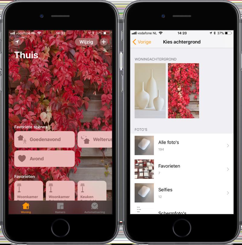 Achtergrond in de Woning-app op iOS.