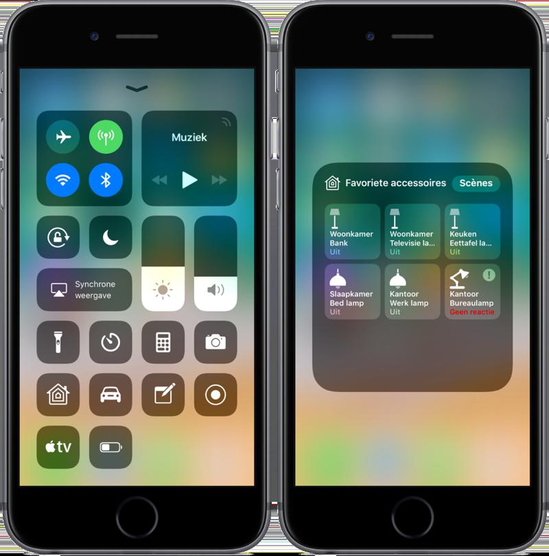 Woning-app in het Bedieningspaneel op iOS.