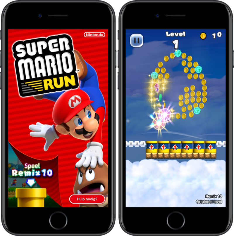 Super Mario Run Remix 10 op de iPhone.