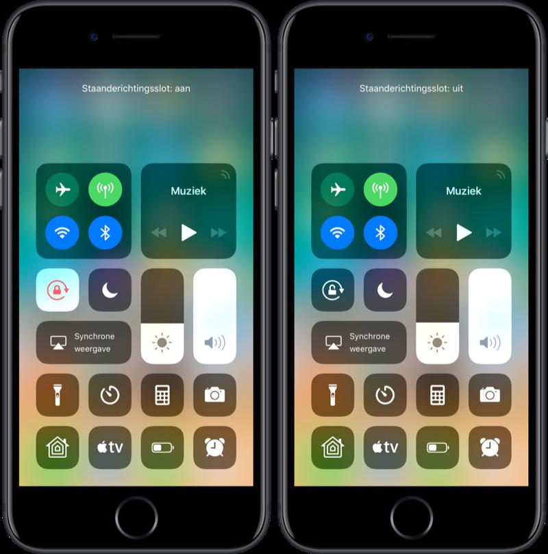 Rotatieslot in het Bedieningspaneel in iOS 11.