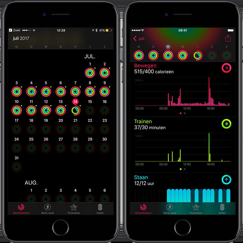 Acitiviteit-app op iPhone