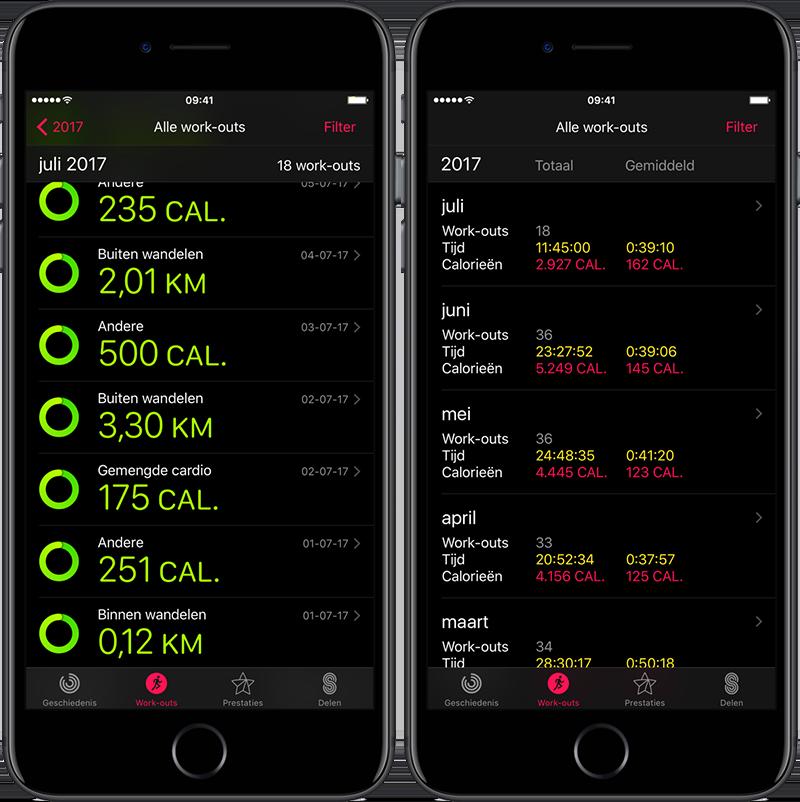 Activiteiten-app op de iPhone met workouts