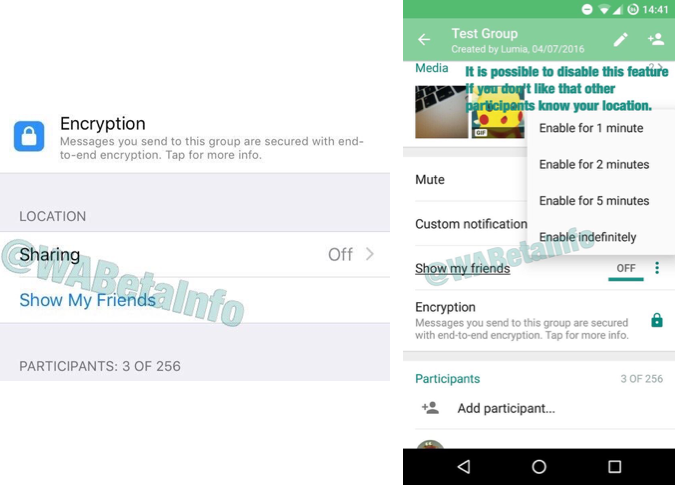 WhatsApp Live Location in iOS- en Android-beta.